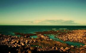 Wallpaper shore, horizon, stones