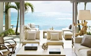 Picture design, style, the ocean, furniture, Villa, view, interior, terrace