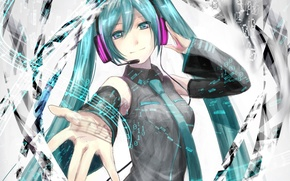 Picture girl, notes, hand, headphones, art, figures, microphone, vocaloid, hatsune miku, Vocaloid