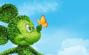 Picture the sky, eyes, leaves, clouds, butterfly, Bush, nose, ears, Mickey Mouse, Mickey mouse
