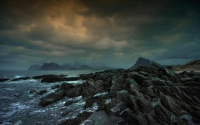 Picture sea, clouds, storm, rocks