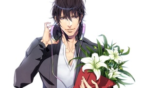 Picture flowers, bouquet, anime, headphones, guy