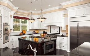Picture table, crane, window, kitchen, plate, chandelier, oven