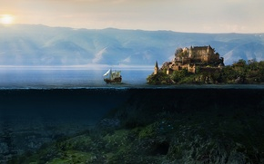 Picture the sun, mountains, castle, the ocean, island, underwater world, korabl