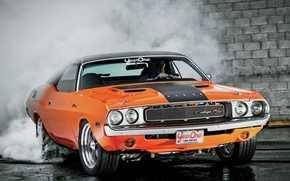 Picture Burnout, Dodge, Challenger, Orange, 1970
