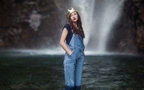 Picture water, girl, crown