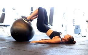 Picture workout, fitness, sportswear, training ball