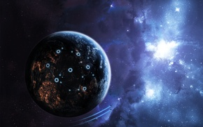 Picture space, stars, light, planet, ships, structure, space