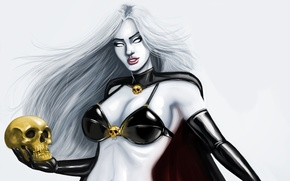 Picture look, fiction, hair, skull, art, comic, white eyes, Lady Death, Lady Death