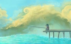 Wallpaper the sky, clouds, river, figure, pier, girl, float, rod
