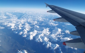 Picture cold, winter, the sky, freedom, clouds, snow, white, height, Mountains, wing, horizon, the window, flight, …