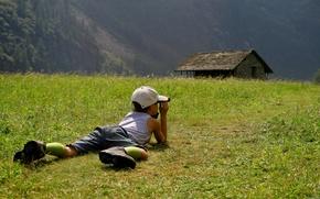 Picture field, grass, nature, children, mood, boy, cap