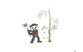 Picture figure, bamboo, Panda, axe, Art, bamboo, panda, cleaver, lumberjack