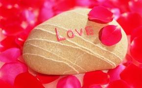 Wallpaper love, stone, petals, recognition
