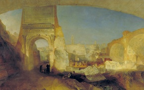 Picture the city, people, picture, the ruins, William Turner, Roman Forum