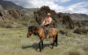 Wallpaper Vladimir Putin, mountains, nature, Wallpaper, Prime Minister of Russia, the President of Russia, horse, Putin