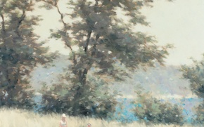 Picture summer, trees, meadow, Andre Gisson