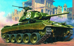 Picture easy, art, tank, USA, the battle, Chaffee, M24 Chaffee, WW2., honor, British, named, M24 Chaffee, ...