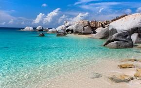 Picture sea, beach, the sky, clouds, rocks, blue, Sunshine sea