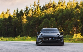 Picture road, forest, tuning, view, Volvo, black, tuning, S60, 2016, Polestar