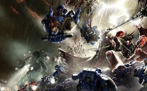 Picture Horus Heresy, Warhammer 40000, space marine, Angron, titan, Betrayer, Lorgar, Ultramarine, Primarchs