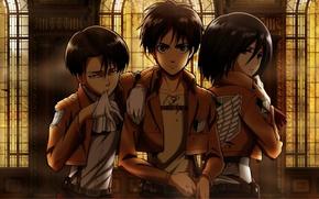 Picture gloves, stained glass, emblem, hall, friends, three, military uniform, Shingeki no Kyojin, Mikasa Ackerman, Levi, …