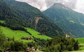 Picture greens, trees, mountains, field, slope, Italy, houses, forest, Fundres