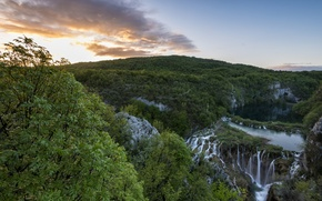 Picture trees, mountains, lake, view, morning, waterfalls, Croatia, national Park, Plitvice lakes