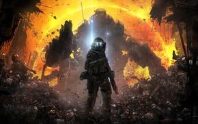 Picture weapons, Respawn Entertainment, corpses, soldiers, Electronic Arts, ash, Fur, pilot, TitanFall, Titan, Atlas, Atlas, the ...