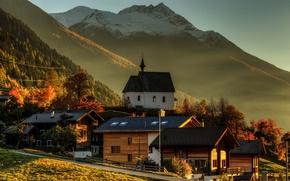 Picture twilight, sunset, mountains, dusk, village, sunlight, peaks