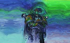Wallpaper warrior, chaos, champion, Warhammer 40k, the eye of terror, Tzeentch