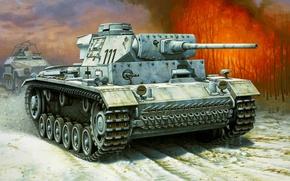 Picture war, art, tank, ww2, Pz.Kpfw. III Ausf. L