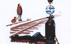 Picture winter, snow, rails, train, dog, arrow, white background, art, semaphore, Devochka, Be Sato Yuzuriha