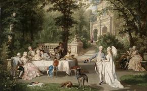 Picture dogs, trees, Park, table, ladies, picture, Austria, trees, Palace, park, dogs, the conversation, Austria, picture, …