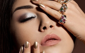 Picture girl, eyelashes, model, ring, hands, makeup, manicure, closed eyes