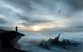 Picture the sky, rock, fiction, people, planet, horizon, silhouette, art