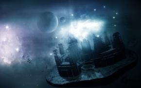 Wallpaper stars, planet, the ruins