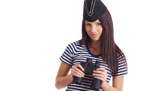 Picture look, girl, strip, background, hair, hands, makeup, t-shirt, binoculars