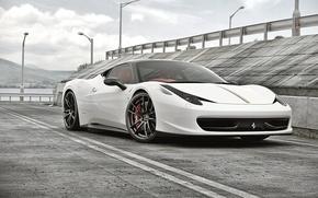Picture Ferrari, White, Ferrari, 458, Front, Before, White, Italia, Supercar