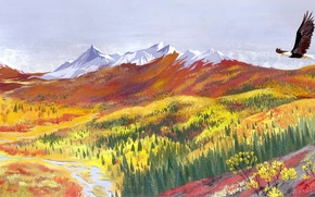 Picture forest, mountains, river, bird, eagle, painted landscape