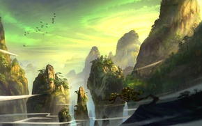 Picture trees, mountains, birds, rocks, the wind, dust, art, coniferous, feng liu, pursue