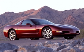 Picture the sky, mountains, Corvette, Chevrolet, Chevrolet, supercar, Coupe, the front, Corvette, 50th Anniversary