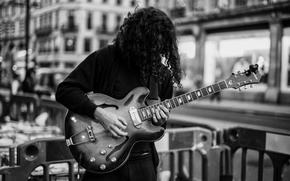 Picture the city, music, hair, guitar, musician