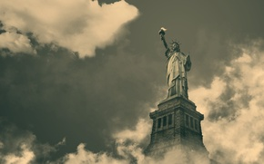 Wallpaper the sky, clouds, day, America, the statue of liberty, USA, black and white, new york, ...