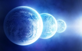 Picture space, stars, light, planet, satellite, three