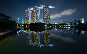 Wallpaper night, lights, Singapore, the hotel, Marina Bay