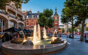 Picture the city, Amsterdam, cafe, fountain, the hotel, Netherlands, architecture, Amsterdam, Nederland, American Hotel