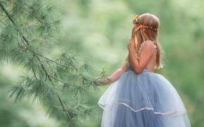 Picture background, branch, dress, girl