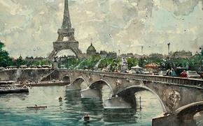 Picture bridge, river, Paris, picture, watercolor, Eiffel tower, the urban landscape, Maximilian DAmico