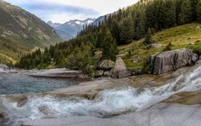 Picture mountains, river, Switzerland, valley, Alps, panorama, Switzerland, Alps, Grisons, Graubünden, Sumvitg valley, Val Sumvitg, valley ...